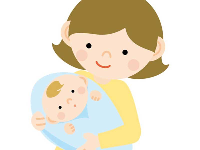 バスタオルでおくるみされた赤ちゃんとお母さんのイラスト