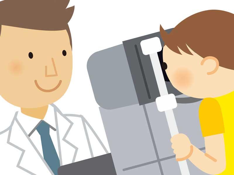 視力検査をしている子供のイラスト