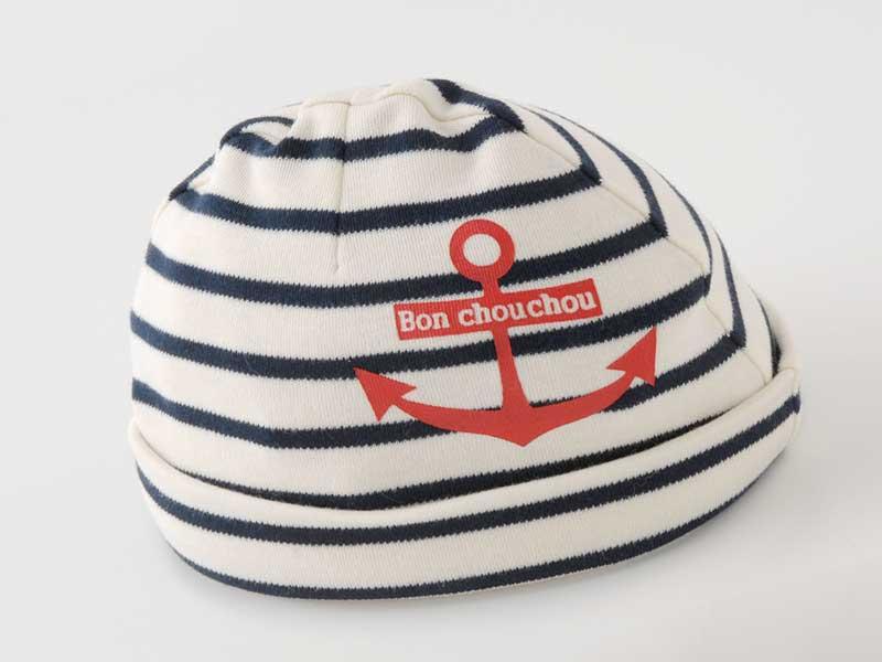 マリンボーダー新生児帽子