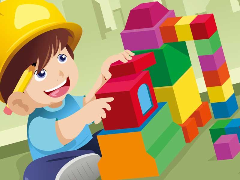 一人で積み木を遊ぶ子供のイラスト