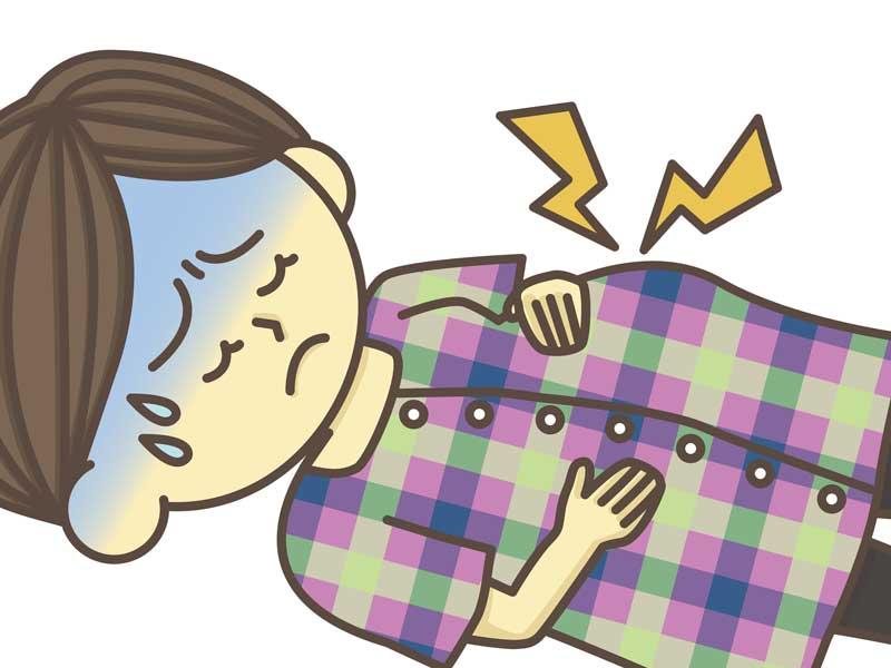 陣痛が激しい妊婦さんのイラスト