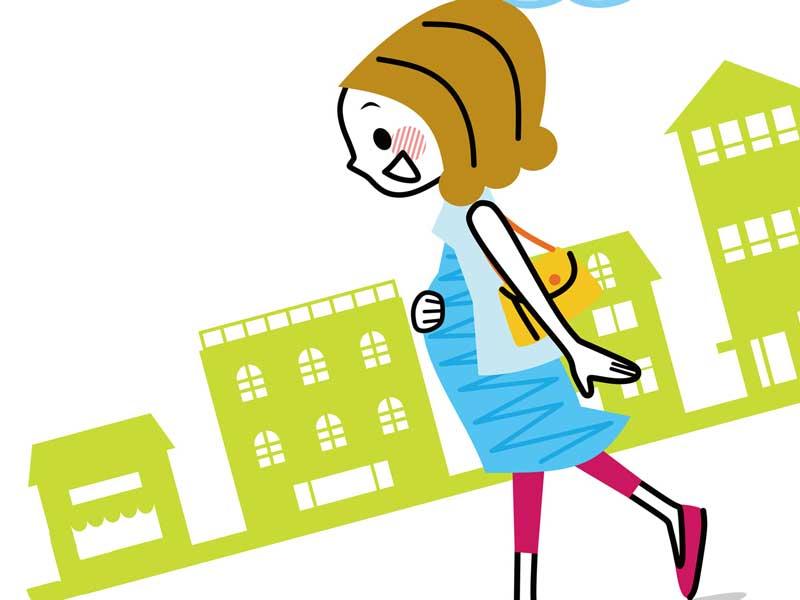 買い物に出歩いている妊婦さんのイラスト