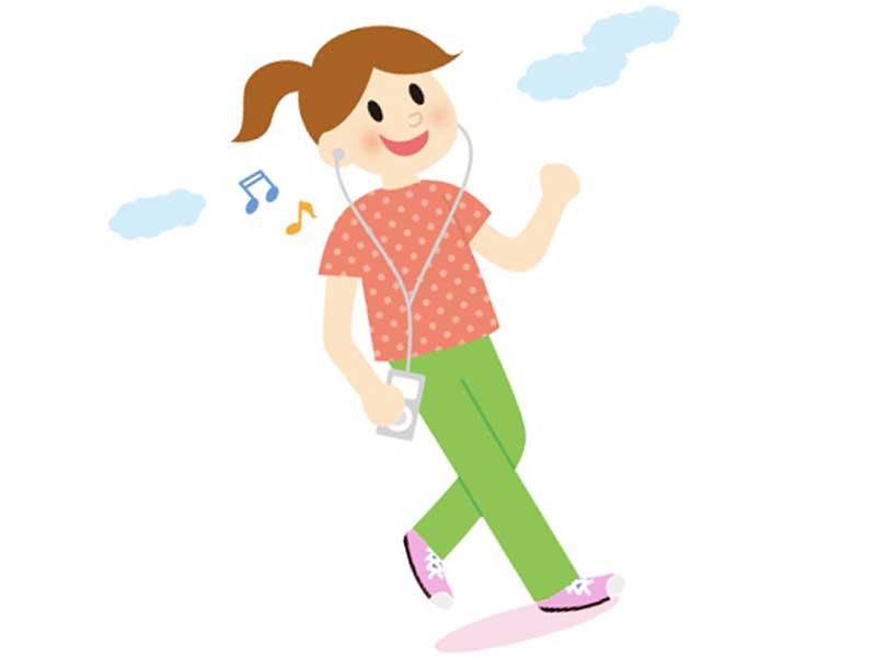 音楽を聴きながらウォーキングをしている女性のイラスト