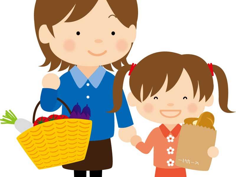 子供と一緒に楽しく買い物するママのイラスト