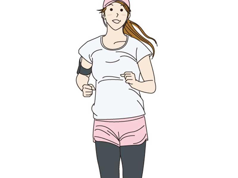 ウォーキングをしている女性のイラスト