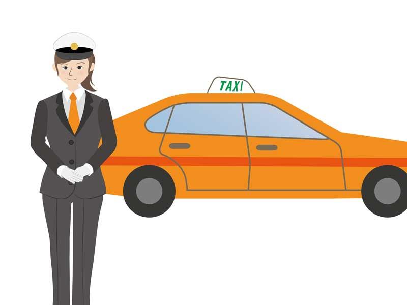 タクシーとタクシー運転手のイラスト