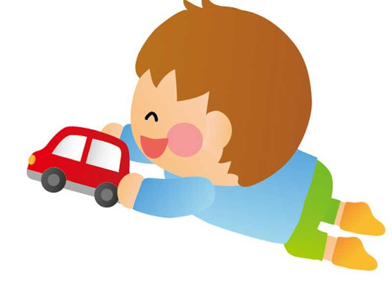 おもちゃで遊ぶ男の子のイラスト