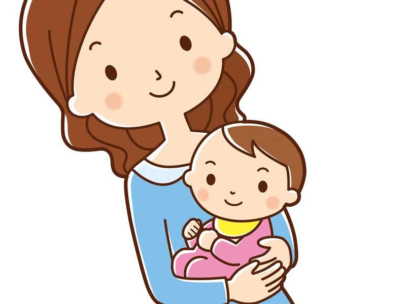 赤ちゃんを抱っこするママのイラスト