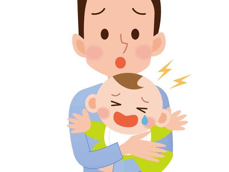 抱っこを嫌がる子供のイラスト