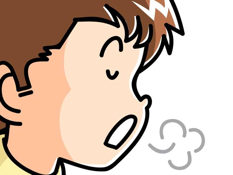 咳払いする子供のイラスト