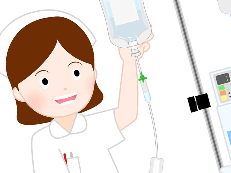 点滴薬と看護婦のイラスト