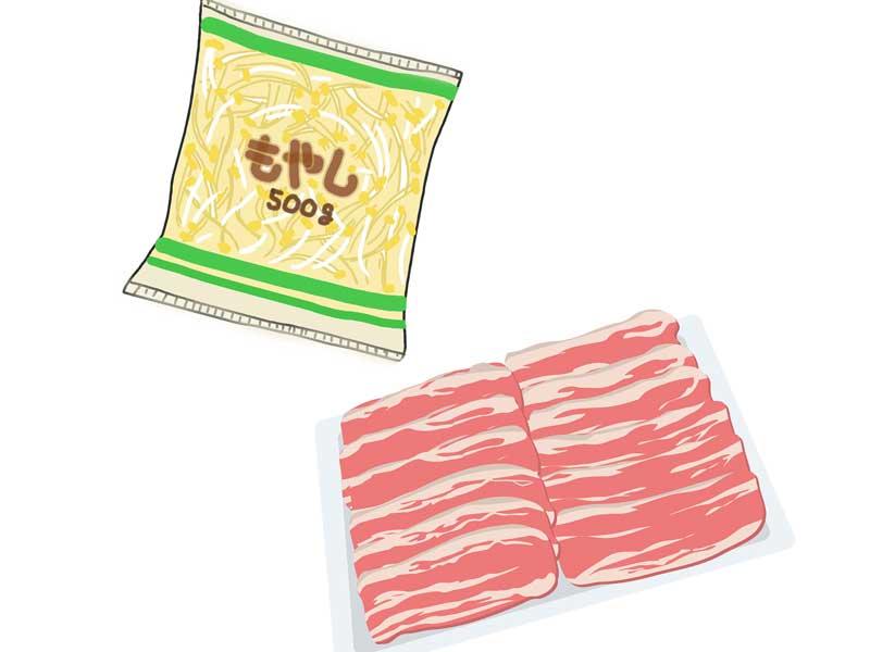 もやしと豚肉のイラスト