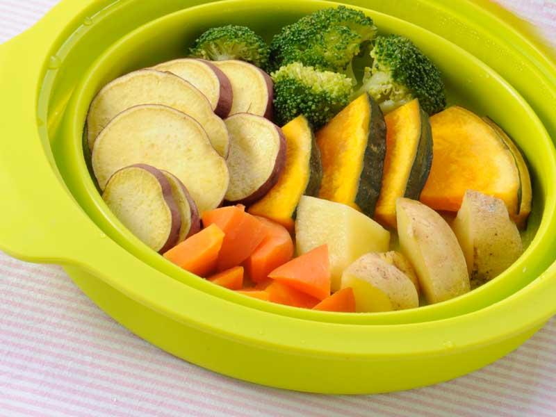 シリコンスチーマーで作った温野菜