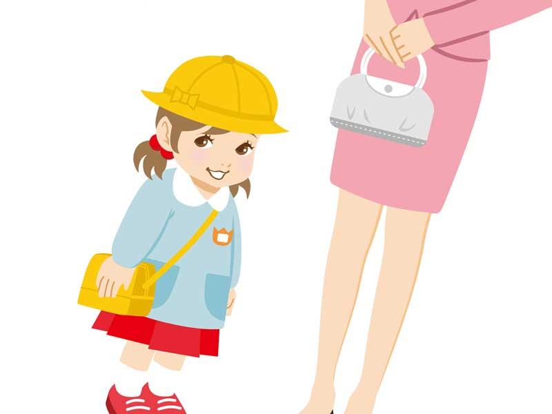 幼稚園の入園式に出る親子のイラスト