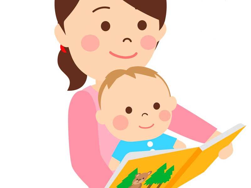 子供に絵本を読んであげるお母さんのイラスト