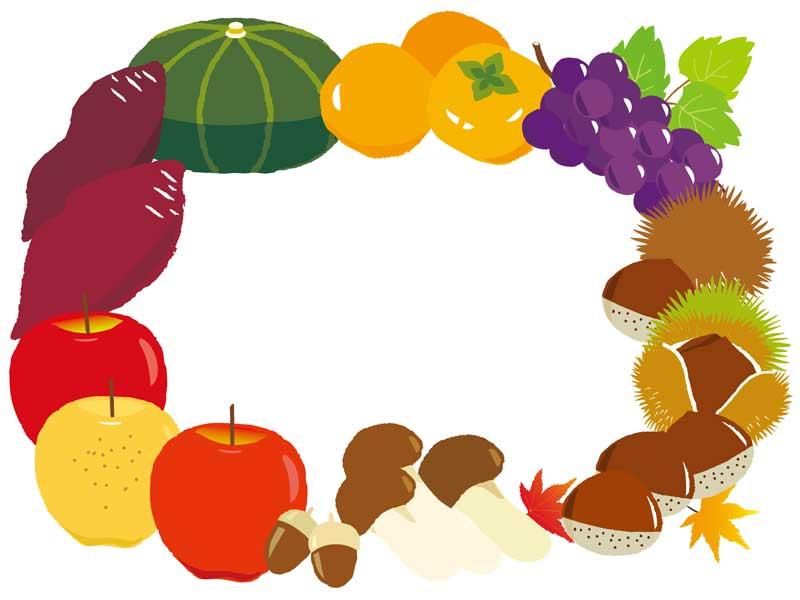 秋の旬の食べ物のイラスト