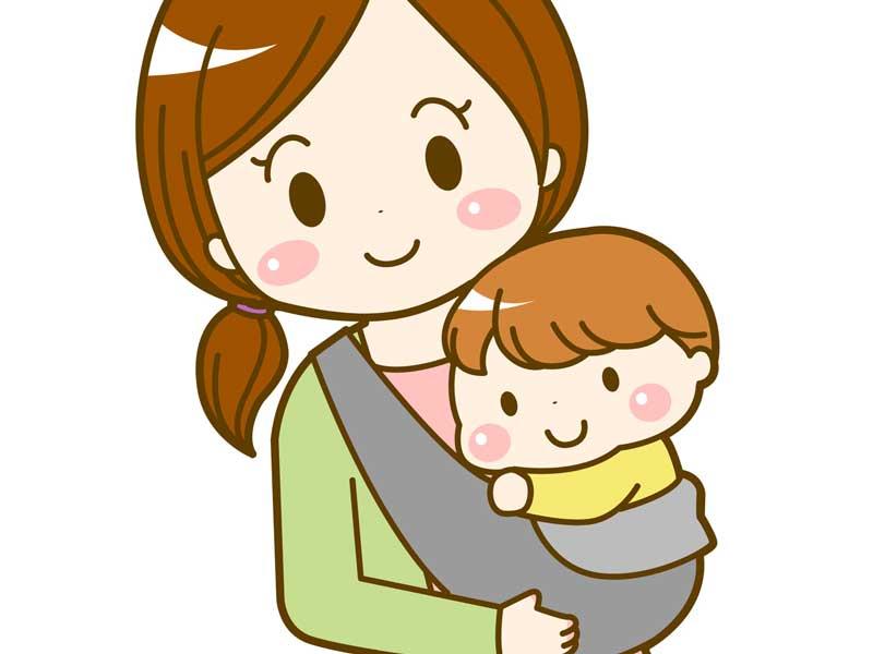 赤ちゃんを抱っこしているママのイラスト