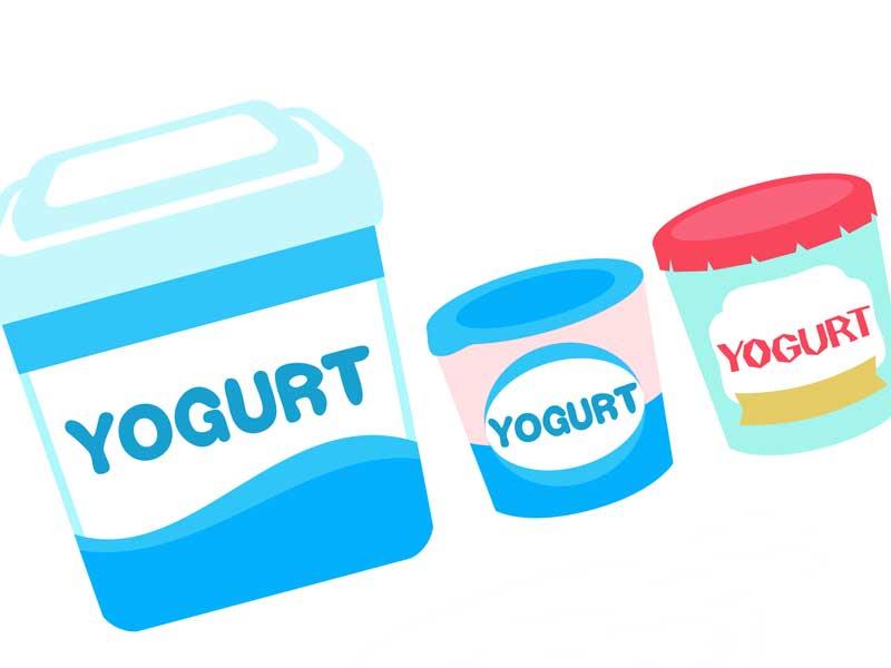 各種類のヨーグルトのイラスト