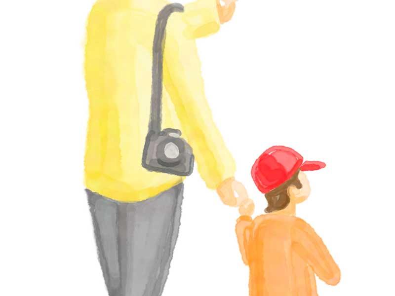 手を繋いでいる親子のイラスト