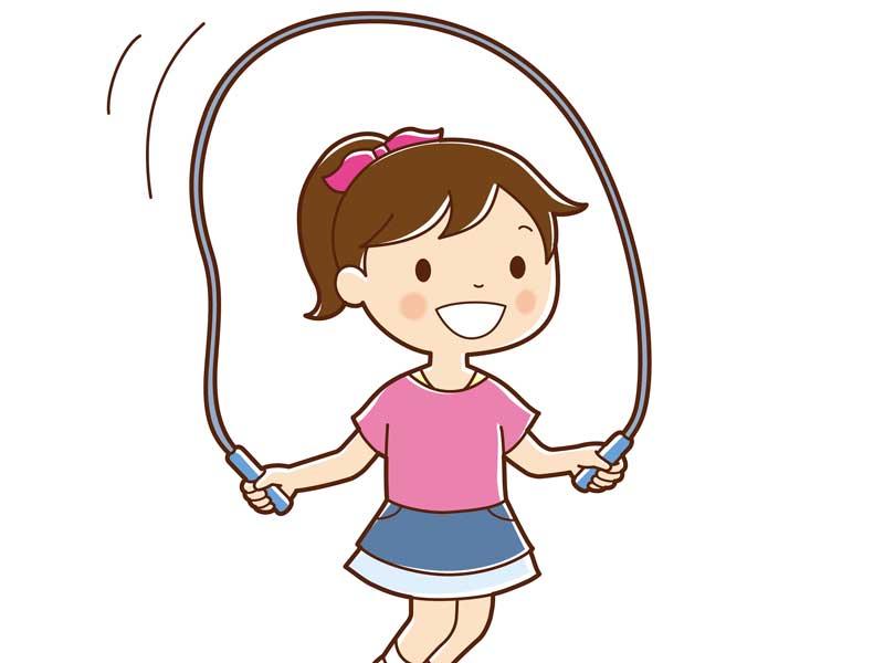 縄跳びをしている女の子のイラスト