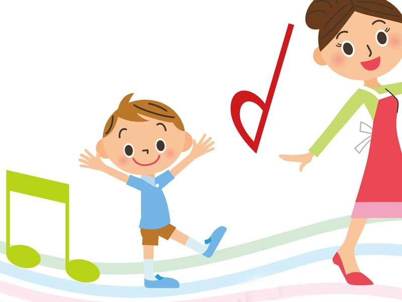 お母さんと音楽を聴いている子供のイラスト