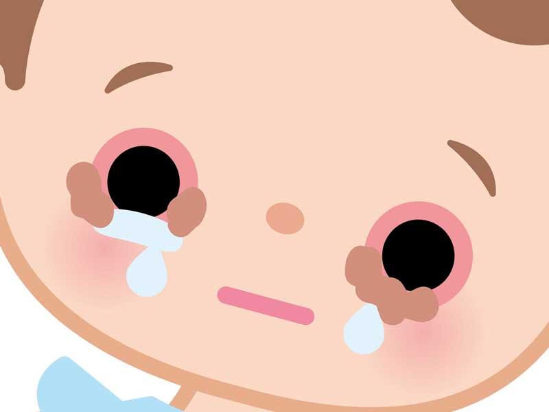 目が赤く充血している赤ちゃんのイラスト
