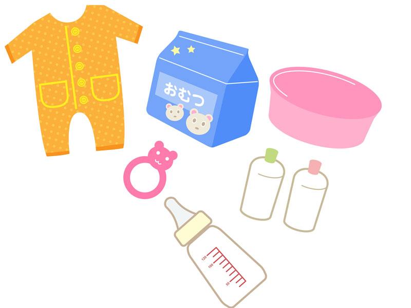 育児パッケージのベビー用品のイラスト