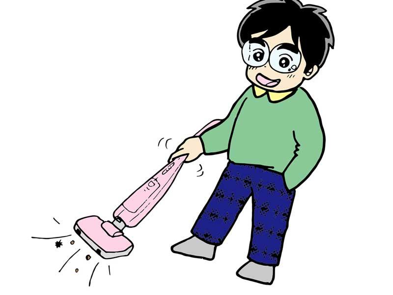 掃除をしている夫のイラスト
