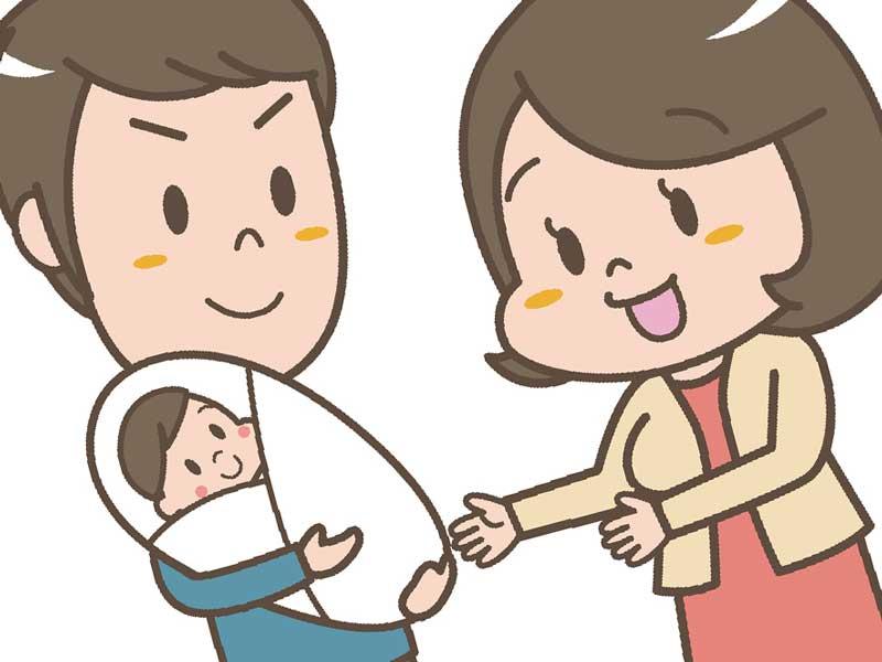 産後のママと会話するパパのイラスト