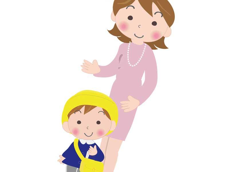 入園式に出る親子のイラスト