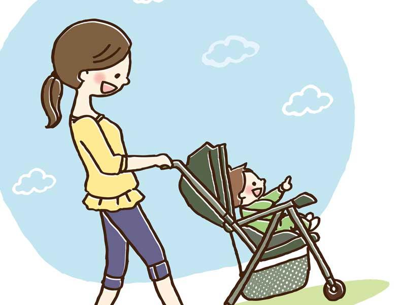 赤ちゃんを連れて出かけるママのイラスト