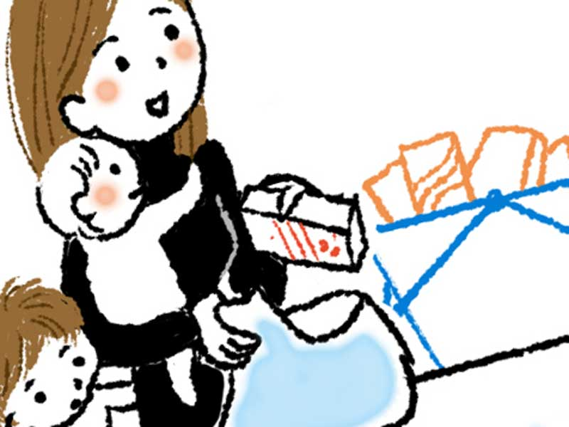 赤ちゃん達を連れて近所での買い物するママのイラスト