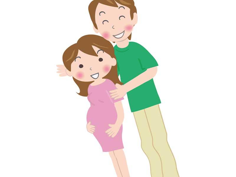 夫と散歩する妊婦さんのイラスト