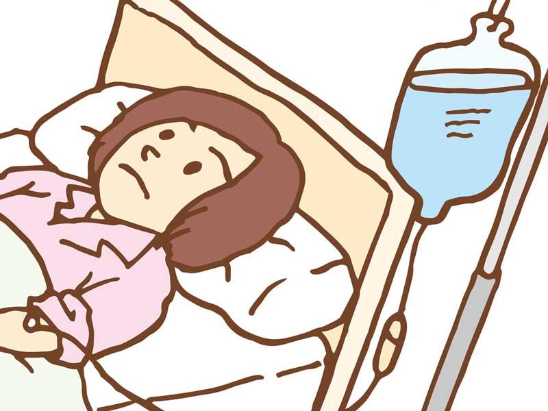 点滴をしている妊婦さんのイラスト
