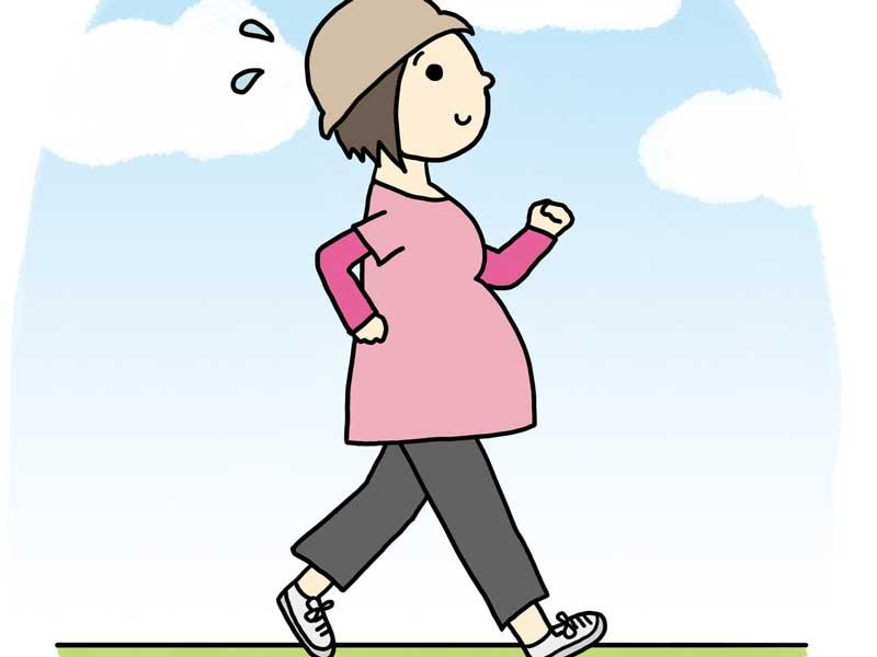 ウォーキングをしている妊婦さんのイラスト