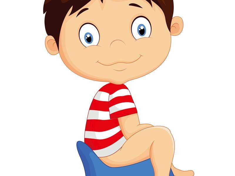 トイレトレーニングをしている男の子のイラスト