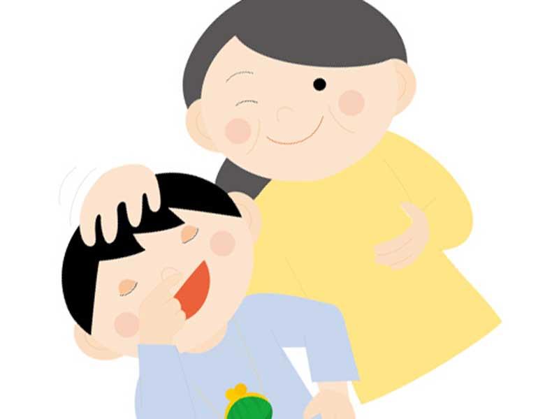 子供を褒めるお母さんのイラスト