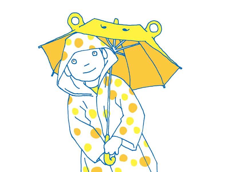 目立つ黄色の傘を持つ子供のイラスト