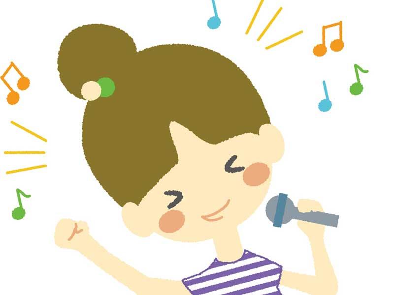 カラオケで歌う妊婦さんのイラスト
