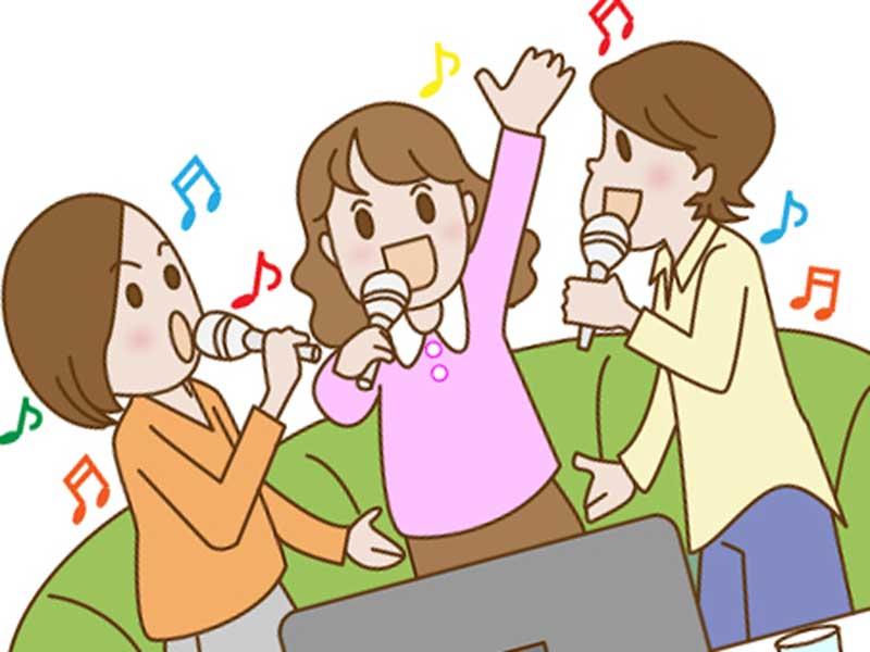 友達とカラオケで歌う妊婦さんのイラスト