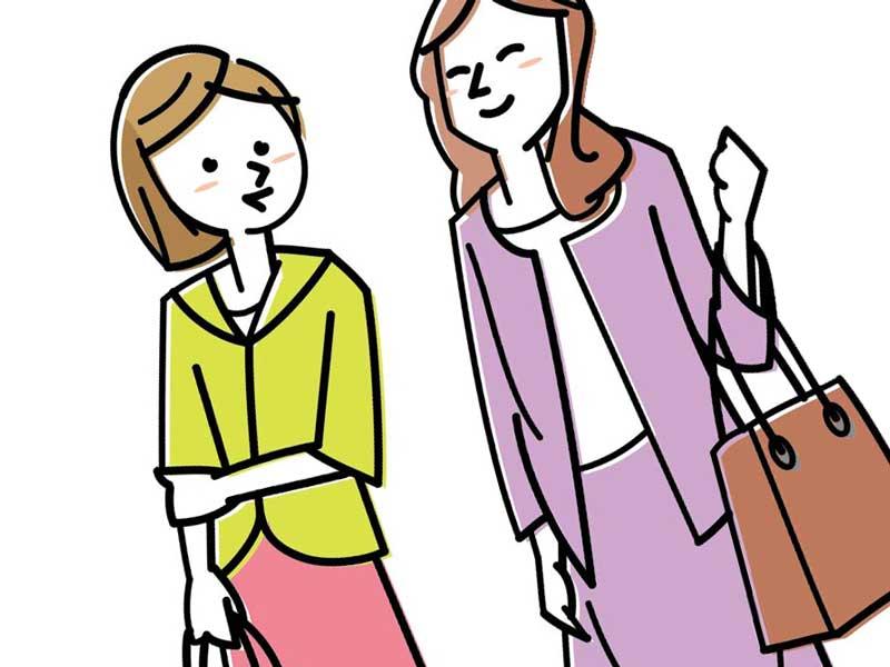 友達と出かける妊婦さんのイラスト