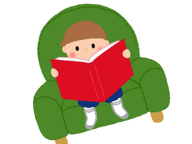 キッズソファに座っている子供のイラスト