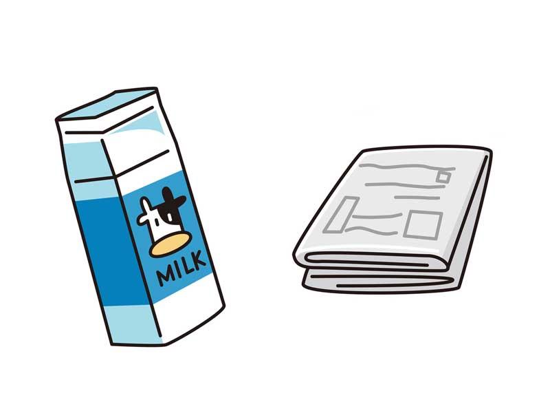 新聞紙と牛乳パックのイラスト