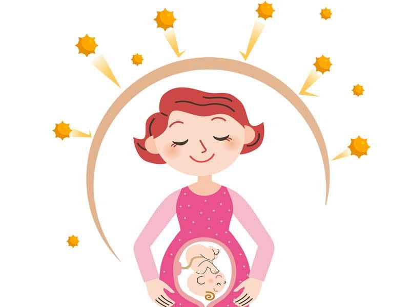 免疫力がアップしている妊婦さんのイラスト