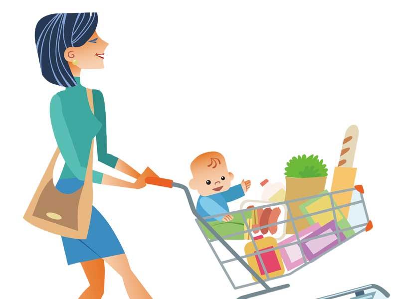 赤ちゃんを買い物カートに乗せて買い物するママのイラスト