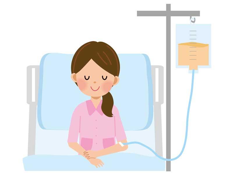 入院をしている女性のイラスト