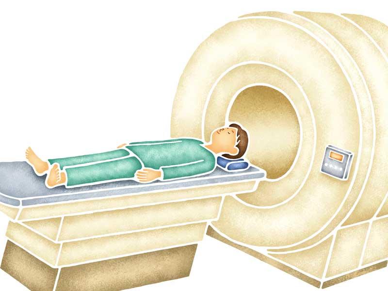 MRI検査を受ける女性のイラスト