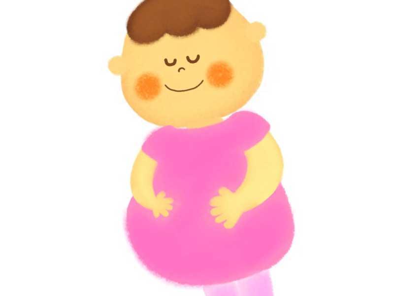 太っている妊婦さんのイラスト