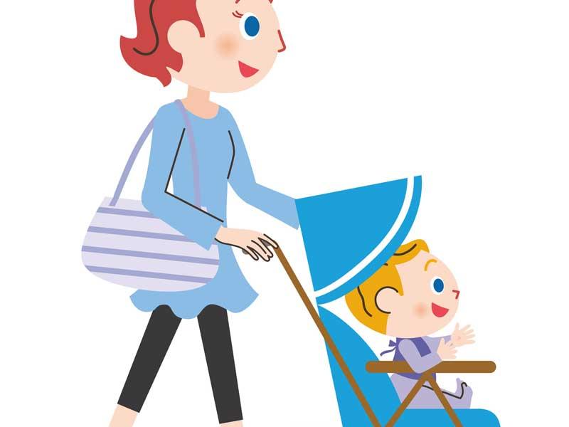 赤ちゃんを連れてお出かけするお母さんのイラスト