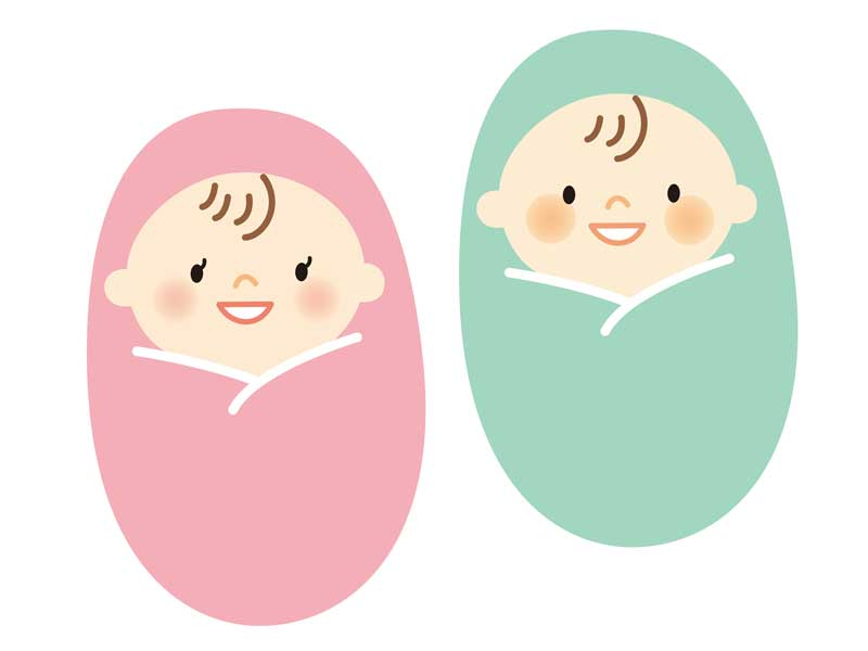 双子の赤ちゃんのイラスト